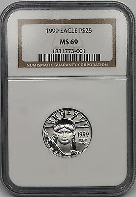 1999 Platinum Eagle $25 Quarter-Ounce MS 69 NGC 1/4 oz Platinum .9995