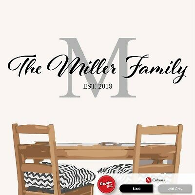 Family Custom Name & Initial Personalised Wall Art Sticker Lounge Kitchen Decal