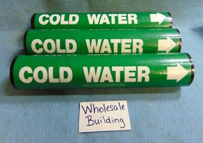 "Seton Pipe Marker Vinyl Snap Around C37-20, 1-1/2 - 2-3/8"" Cold Water *lot Of 3*"