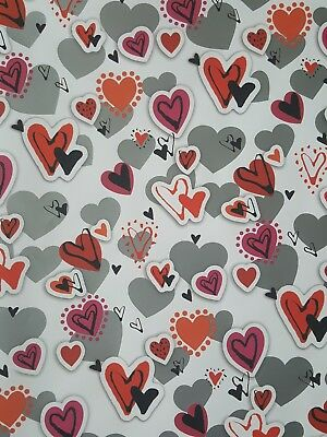 2 Sheets Of Thick Glossy Valentines / Valentine's Day Hearts Wrapping Paper