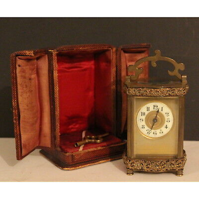 A Quality C19th French Brass Cased Carriage Clock in Moroccan Leather Case