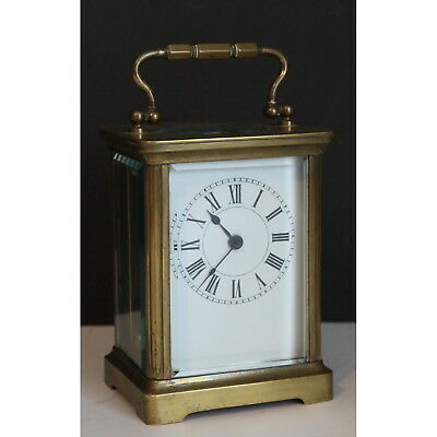 A Late C19th French Brass Cased Carriage Clock with Enamel Dial