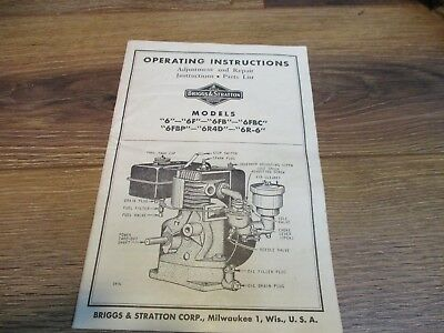 BRIGGS STRATTON Model 6 Engine Owner Parts Service Repair Manual 32pg Gas