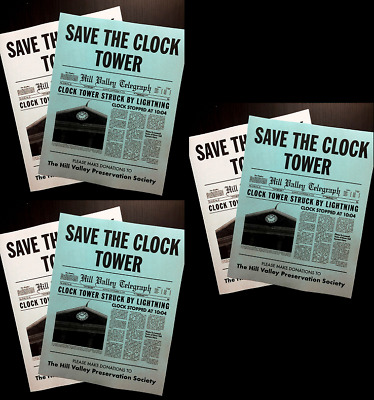 Set of 3 Back To The Future Save The Clock Tower Flier Set Prop/Replica > Mcfly