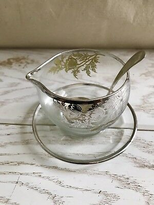 Vintage Silver Overlay Glass  Creamer & spoon made in England silver plate
