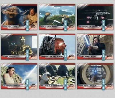 LAST JEDI SELECTS SERIES 2 WAVE 4 WHITE SET OF 9 CARDS Star Wars Trader Digital