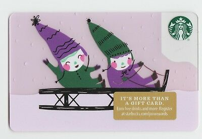 Starbucks collectible gift card no value mint #146 Kids on Sleigh