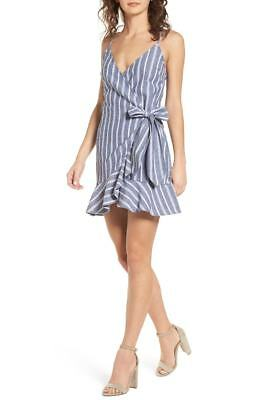 d4dd270fda9  220 The Fifth Label Women s Blue White Striped V-Neck Casual Wrap Dress  Size L