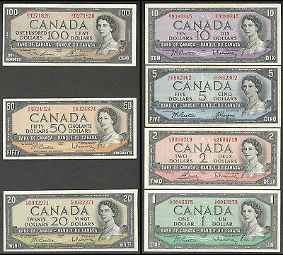 1954 $100.00 $50. $20. $10. $5. $2. $1. ALL 4 Signatures Canada Paper Money Set