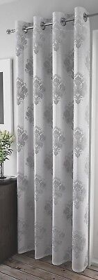 Pairs Of Stunning Regency  Jacquard Grey Thick Voile Eyelet Net Curtain Panel