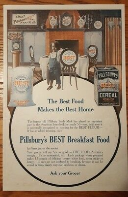 Pillsbury Best Cereal / Crystal Domino Sugar early 1900's original magazine ad
