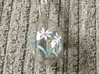 East Egg Ornament, Mini Clear Glass With Flowers, 1 3/4""