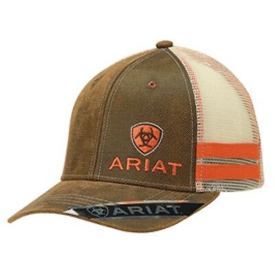 07b8d19c8bb Ariat Western Mens Hat Baseball Cap Mesh Snap Logo Orange Stripes Brown  1595002