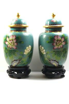 Two Chinese Green Brass Enamel Peony Flower  Cloisonne 19-20 C Lidded Jar, Stand
