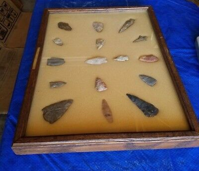 16 pc Framed Arrowhead Collection, Authentic from IN, MI, OH Region