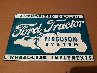 Ford Tractor Ferguson System Thick Metal Sign Made USA Tractor Farm Barn Art