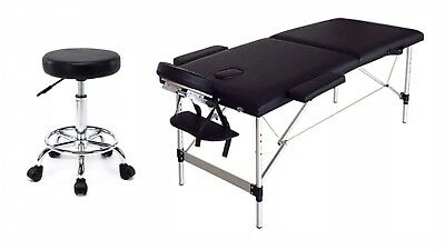 Black Portable Eyelash Extension Table Bed & Chair Kit w/Carrying case