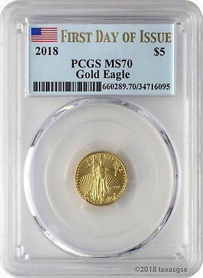 2018 $5 Gold Eagle PCGS MS70 First Day of Issue