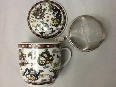 One 1 Chinese Porcelain Tea Cup Handled Infuser Strainer with Lid 10 oz a