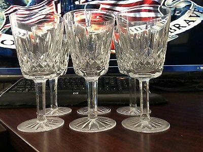 """6 Waterford Crystal Lismore Pattern Claret Wine Goblet, 7"""" x 3 1/2"""" preowned"""