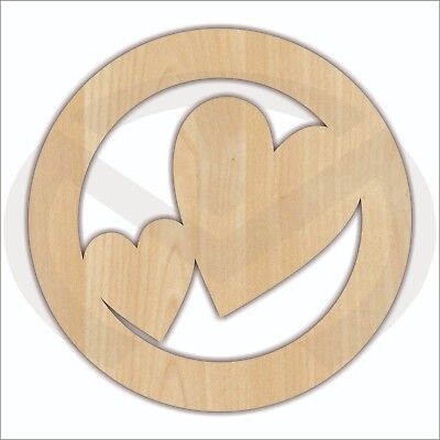 Unfinished Wood Circle Frame with Hearts Laser Cutout, Valentine Door Hanger