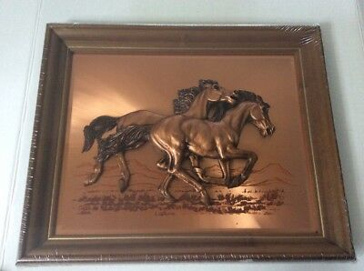 Vintage Picture/wooden Plaque Copper Horses Mcm 3D Horse Picture Copper New