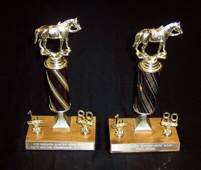 2 First Place Gold Tone Plastic and Wood Horse Trophies From 1989 - Used