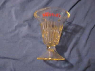 Vintage Nestle's Sundae Soda Glass Pedal Stool Base Ridge Pattern RARE!