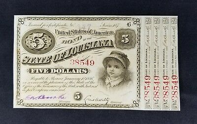 "$5 State of Louisiana ""Baby Bonds"" 4 coupons red serial becoming very scarce."