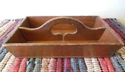 PRIMITIVE Wooden CUTLERY TRAY with Handle *OLD FINISH  *GREAT ANTIQUE