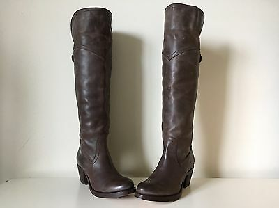 4b11688d05e FRYE New Jane Tall Brown Leather Buckle Riding Over The Knee OTK Cuff Boot  6 B