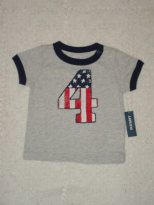 Old Navy Gray Tee shirt Boys  4th of July 3-6 months  patriotic stars New tags