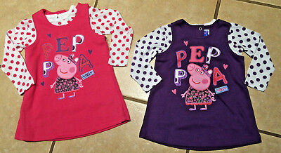 Peppa Pig Purple or Pink Jumper Dot L/S top Dress School Birthday 12/18M-5T