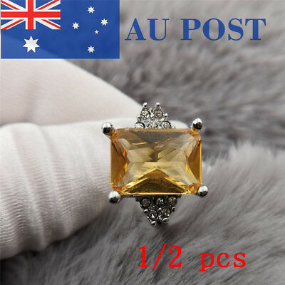 1/2pcs 925 Silver Plated Classic Women Wedding Party Yellow Stone Ring Size 6-10