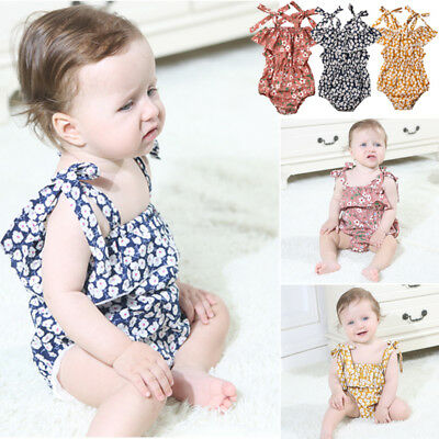 AU Toddler Baby Girls Chiffon Sling Jumpsuit Romper Clothes Small Flower Sunsuit