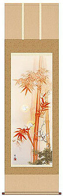 japanese hanging scroll   Title :Vermilion bamboo and white sparrow  new
