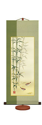 japanese hanging scroll Title : Bamboo and sparrow/ yohshu nemoto
