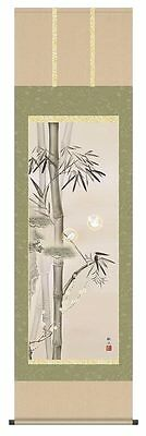 japanese hanging scroll  Title : bamboo and white sparrow  new