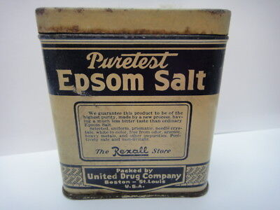 Vintage EPSOM SALT TIN / EMPTY / RUSTY / PURETEST / COLLECTIBLE / Rexall