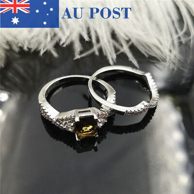 Silver Plated Classic Orange Crystal Ring Set For Women Wedding Ring Jewelry