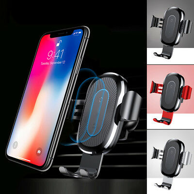 Qi Wireless Automatic Clamping Fast Car Charger Mount Holder Stand Apple US