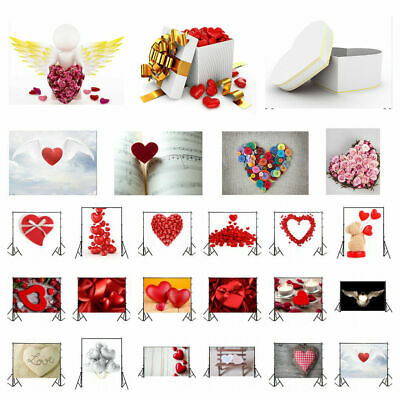 3x5/5x7ft Valentine's Day Photography Background Red Love Heart Photo Backdrops