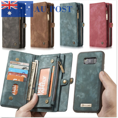 For iPhone Xs Max XR Removable Magnetic Leather Zipper Cards Wallet Case Cover