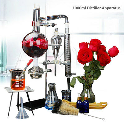 1000ml Water Distiller Glassware Lab Essential Oil Distillation Apparatus w/Pipe