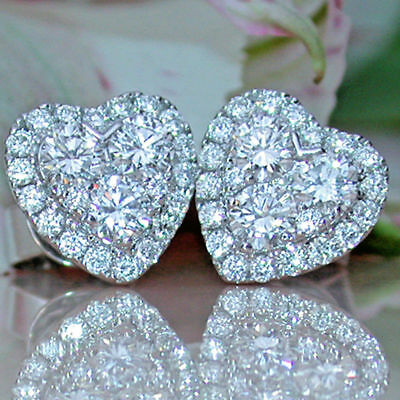 1.50Ct Round Diamond Valentine Heart Shape Stud Earrings 14k White Gold Finish