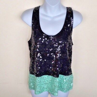 aac0724af910b J.Crew Women Tank Top Size XS black Sequin Party Holiday Sleeveless cami  NWOT