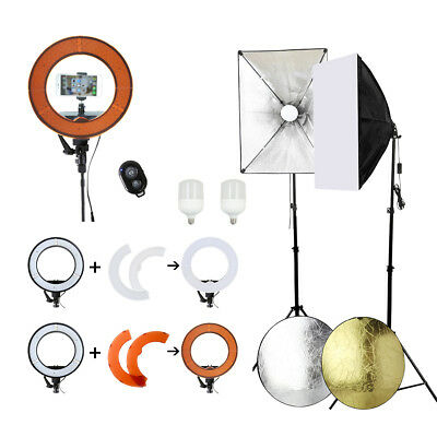 "14"" LED Ring Dimmable Diffuser Light Photography Softbox Kit Light Stand Studio"