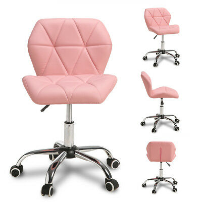 Cushioned  Adjustable Computer Desk Office Chair 360° Swivel Chrome Legs Pink
