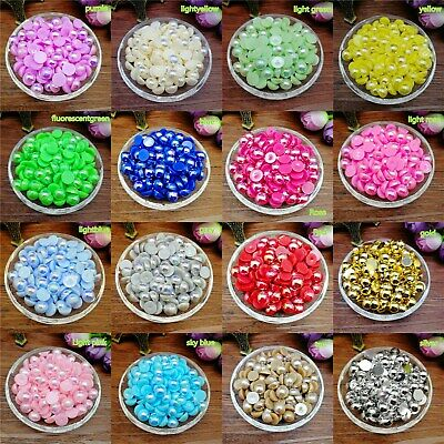 wholesale 4/6/8mm Half Round Pearl Bead Flat Back Scrapbook for Craft colors MG
