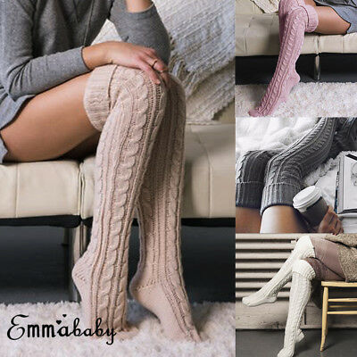 US Womens Cable Knit Long Boot Socks Over Knee Thigh High Warmer Winter Stocking